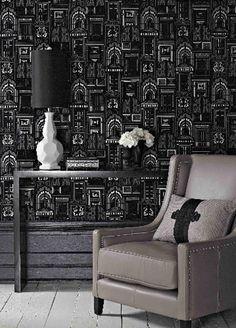 Opening Doors flock and metallic wallpaper from Sophie Conran