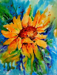 Large Sunflower Wall Decor Watercolor Painting by MarthaKislingArt