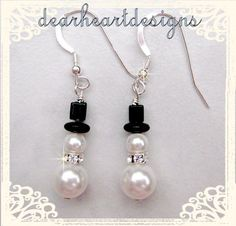 Swarovski Crystal Snowmen Earrings by DearheartJewelry on Etsy, $12.50