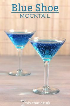 Blue cocktails are always a hit, but what about non-drinkers. The Blue Shoe Mocktail gives them a gorgeous, sparkling, delicious blue drink to enjoy, too. It's fruity with cranberry and citrus notes.