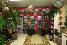 I like the animal print lanterns! Forest Classroom, Jungle Theme Classroom, Classroom Setup, Classroom Design, Classroom Displays, Future Classroom, School Classroom, Classroom Organization, Disney Classroom