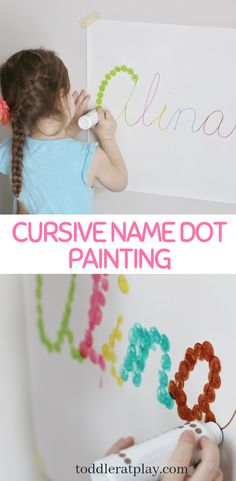 Easy and fun way to introduce cursive writing to preschoolers. Also great for hand-eye coordination and gross motor skills! Learning Cursive, Learning To Write, Learning Letters, Painting Activities, Letter Activities, Motor Skills Activities, Gross Motor Skills, Indoor Activities For Kids, Preschool Activities