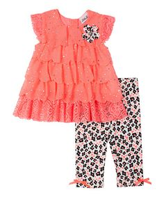 Another great find on #zulily! Coral Floral Shimmer Top & Leggings - Infant, Toddler & Girls #zulilyfinds