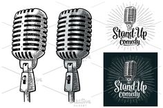 Microphone Stand-Up comedy  by MoreVector on @creativemarket