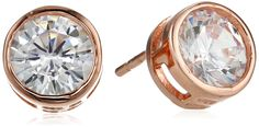 Rose Gold Over Sterling Silver Cubic Zirconia Bezel Set Stud Earrings (2.5 cttw)
