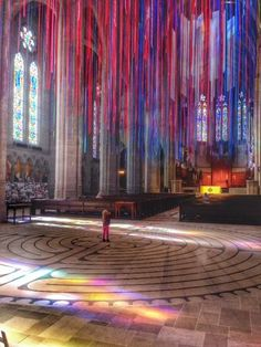 Graced With Light by Anne Patterson: Twenty Miles of Ribbons Are Suspended in San Francisco's Grace Cathedral for Art Installation