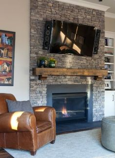 Love the idea of the fireplace as the focal point of the room. Also love the shelf