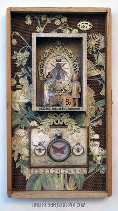 naturalist botanical shadowbox art assemblage...Beulah Bee: Moments Assemblage