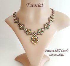 PIPISTRELLO superduo and tila beaded necklace por PeyoteBeadArt