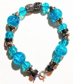 Aqua colored handmade bracelet