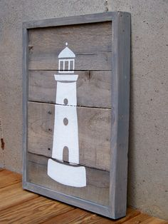 Rustic Wood Originals - MADE TO ORDER Reclaimed Wood Lighthouse Painting   $140.00