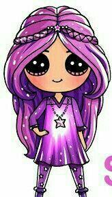New Hair Purple Girl Drawing Ideas Kawaii Girl Drawings, Cute Girl Drawing, Disney Drawings, Cartoon Drawings, Easy Drawings, People Drawings, Kawaii Disney, Cute Disney, Arte Do Kawaii