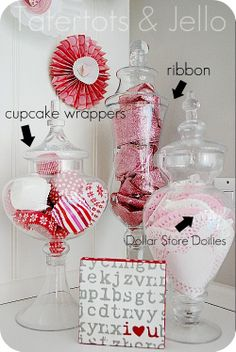 Valentine's Day: Cute & Inexpensive Pink, Red, and White Valentine's Day Apothecary Jar Filler Decor