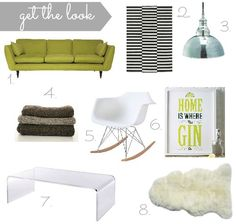 Designing a beautiful living room {forty percent fringe : sixty percent face} acrylic coffee table, eames rocker, skeepskin rug, pendant light, black and white geometric rug, green sofa.