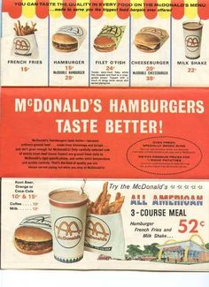 McDonald's prices in 1965. What a great summer '65 was.