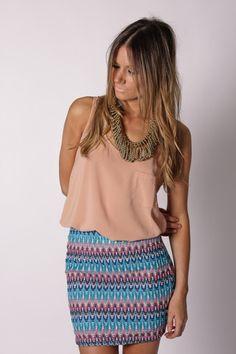connie stretch skirt- blue