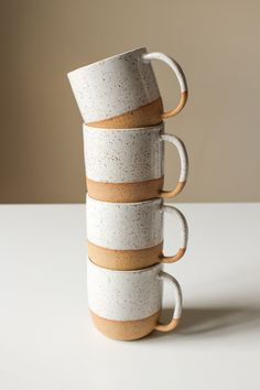 Ceramic Speckled Mugs - Modern Handmade Pottery - White Glaze - Speckle Clay - Rustic - Cups with Handles - Water Glass - Coffee or Teacups Thrown Pottery, Pottery Mugs, Ceramic Pottery, Rustic Ceramics, Modern Ceramics, Ceramics Ideas, Best Coffee Mugs, Coffee Cups, Pottery Classes