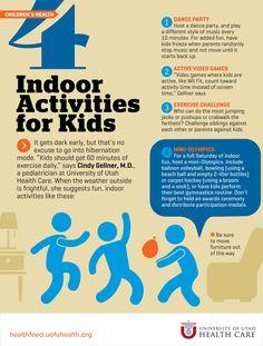 4 Indoor Activities for Kids   Health Feed, Expert Health News & Information; University of Utah Health Care #active #health