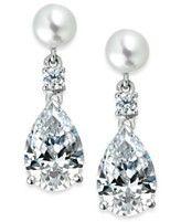 Arabella Bridal Cultured Freshwater Pearl (6mm) and Swarovski Zirconia (11 ct. t.w.) Teardrop Earrings in Sterling Silver