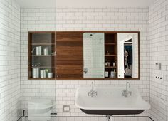 ) from Remodelista bathroom in Cobble Hill duplex by architect Oliver Freundlich Bad Inspiration, Bathroom Inspiration, Kohler Brockway Sink, Mini Bad, Bathroom Countertops, Modern Bathroom Design, Beautiful Bathrooms, Master Bathroom, Garage Bathroom