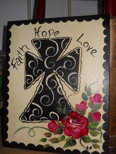 Hand Painted Cross on 8 x 10 canvas  Faith Hope Love with roses on a cream color background. $12.00, via Etsy.