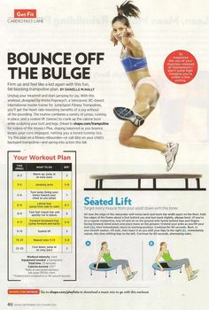Indoor trampoline workout. Shape.com #ShapeMagazine - This has been the perfect workout for me while watching my shows. Highly recommended...but you'll walk funny the first few times cause it hurts!