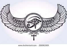 Hand-drawn vintage tattoo art. Vector illustration, tribal symbol of pharaoh, element of ancient Egypt design in linear style. The eye of god of sun Ra Horus with wings and ankh. Isolated occult magic