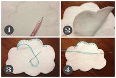 "I thought I would post a little ""tutorial"" about how I made my little cloud garland for Beckham's Room.  It's quite simple and very inexpensive!  I just love the little happ…"