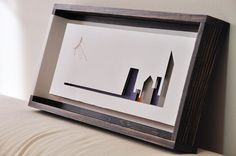 Layered papercut artwork city by day white grey purple от semioX