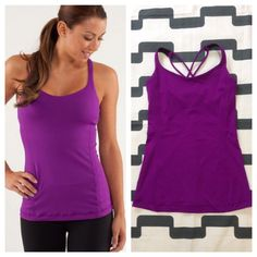 Lululemon Free To Be Tank Tender Violet Purple. Excellent preloved condition. Cross cross back straps. Luxtreme fabric with circle mesh bra liner. Light support. Includes cup inserts. No trades. No PayPal. lululemon athletica Tops Tank Tops