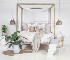 The Strand Four Poster Bed is made from the highest quality European oak finished with a clear lacquer topcoat. All Uniqwa Furniture beds come with a posture slat system. Master Bedroom Design, Dream Bedroom, Home Bedroom, Modern Bedroom, Bedroom Decor, Bedroom Inspo, Warm Bedroom, Bedroom Plants, Natural Bedroom