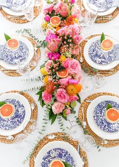 Make a centerpiece runner out of flowers and fruit!