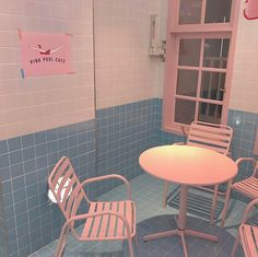 Pink Pool Cafe Table Chairs