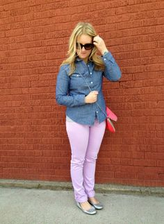 How to Wear Lavender Skinny Jeans with chambray top
