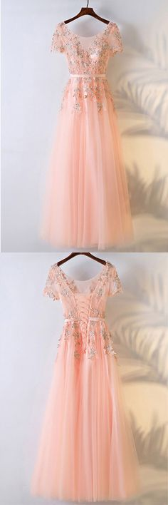 Peachy Pink Round Neck Long Prom Dress With Short Sleeves PG600 #prom #promdress #evening #eveningdress #party #partydress #promgown #eveninggown #pgmdress #newstyle #newfashion #tulle #lace #pink #longprom #aline #laceup #2018prom