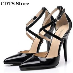 CDTS Pluszapatos mujer:35-45 Summer 2016 Sexy Sandals 10cm thin high-heeled pointed toe banquet shoes woman Cross-Strap pumps