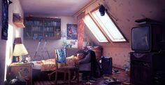 'Weekend' – illustration by Saint-Petersburg-based CG artist Aleksei Kovalev. Bedroom Drawing, Student Room, Color Script, Background Drawing, Environment Concept Art, Interior Decorating, Interior Design, Environmental Art, Beautiful Architecture