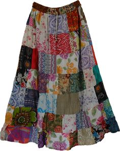 Pearl Hippy Cotton Long Skirt TLB (patchwork) Floral Long Cotton Summer Skirt - This is a pure cotton summer skirt with colorful floral patchwork Mode Hippie, Bohemian Mode, Skirt Outfits, Dress Skirt, Cool Outfits, Maxi Dresses, Peasant Skirt, Linen Dresses, Dress Shoes