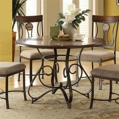 Barrie Casual Cherry Oak Dark Bronze Metal Faux Marble Dining Table