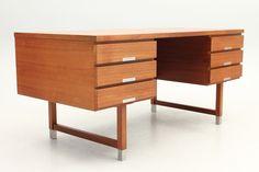 Desk in teak with metal details. Designed by Kai Kristiansen and manufactured by PSA Furniture, Preben Schou Andersen, Denmark. www.reModern.dk