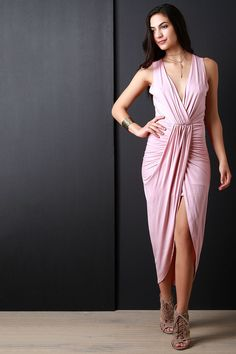 e90aa0c8f0022f Surplice Wrap V-Neck Gathered Center Dress Going Out Dresses, Latest Dress,  Trendy