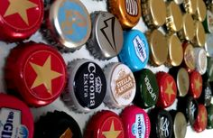 Soda and beer bottle caps repurposed to fridge magnets.