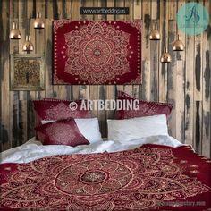 Mandala bedding, Red and gold Mandala duvet cover set, Handdrawn Mehendy mandala duvet bedding set, artbedding art Bedding set