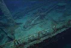 The forecastle's portside railing along Titanic's bow.