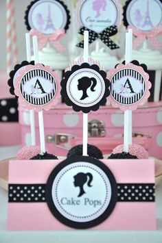 Cake pops at a  Barbie Party #barbieparty #cakepops paper kingdom