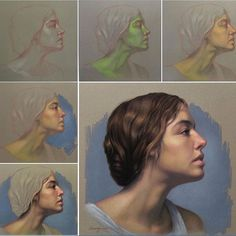 """""""Lady in Profile"""", pastel on Sanded paper. #pastel #pastelpencil #demo #stepbystep #painting #classicaldrawing #artacademy #realism #realist #profile #representational #art #drawing"""