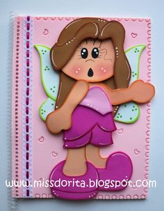 MOLDES CADERNOS DECORADOS BY MISS DORITA Altered Composition Books, Activities For Kids, Crafts For Kids, Cottage Crafts, Paper Piecing Patterns, Fairy Dolls, Cute Images, Felt Crafts, Baby Quilts