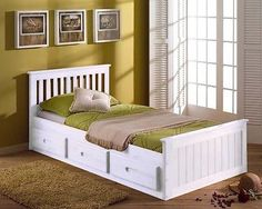 White Single Bed Storage Wooden Bed with Drawers Pine Mattress Option Wooden Bed With Storage, Single Beds With Storage, Bed Frame With Storage, Under Bed Storage, Pine Beds, Bed With Drawers, Childrens Beds, Cool Beds, White Bedding