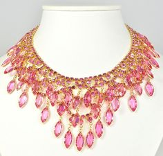 Vintage Design Necklace Pink Rhinestone Drippy Goldtone from the 1960s.