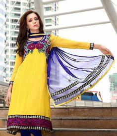 Bollywood Salwar Kameez Designer Pakistani Salwar Kameez Kurti Blue and Yellow Cotton Anarkali Salwar Kameez Tunic Salwar Suit Salwar Kameez...